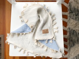 Two Tone Tassel Lovey - Ivory and Powder Blue