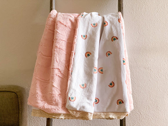Cloud Pink Rainbow Minky Blanket - Child Size