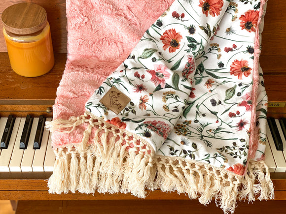 Fall Floral Luxe Minky Blanket- White Floral on Heathered Autumn Rose