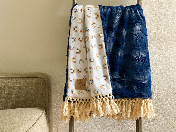 Navy Blue Rainbow Minky Blanket - Child Size