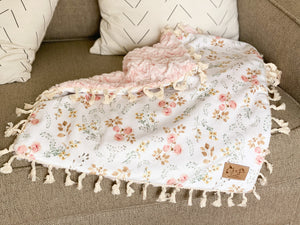 Peony Blossom on Cloud Pink Minky Blanket- Lovey
