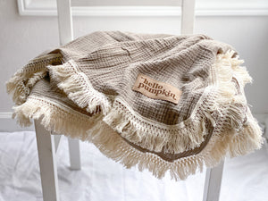 PREORDER Fringe Blanket in Almond - Optional Customization - 2 Sizes