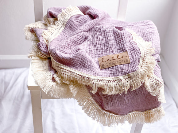 Lavender Fringe Blanket - Optional Personalization
