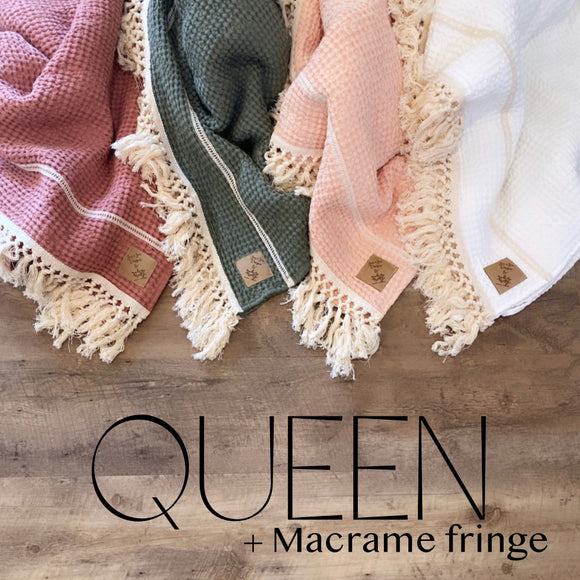 Adult XL/ Queen Size Linen Waffle Blankets with Macramé Fringe