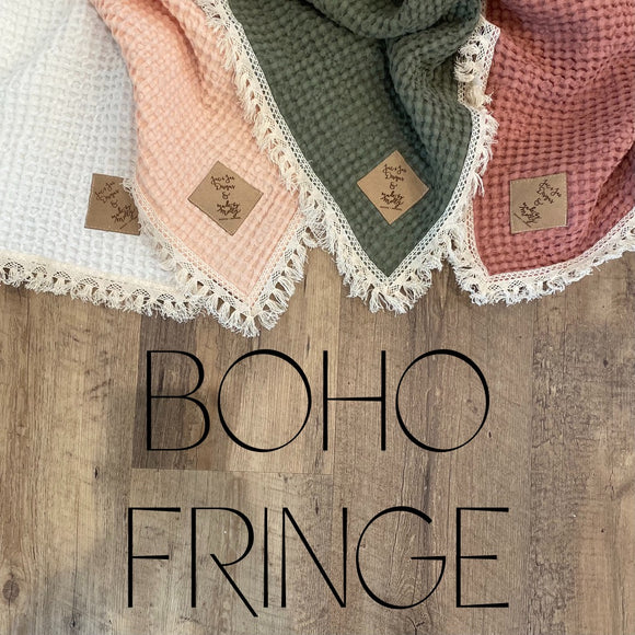 Boho Fringe Linen Waffle Blankets- Mini and Child Sizes