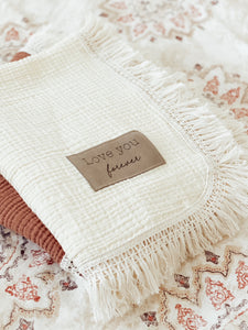 Warm Vanilla Fringe Blanket - Optional Personalization