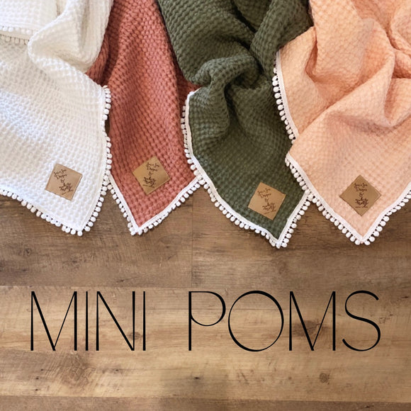 Mini Pom Linen Waffle Blankets- Mini and Child Sizes