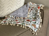 Garden Floral and Gray Minky Blanket- Lovey