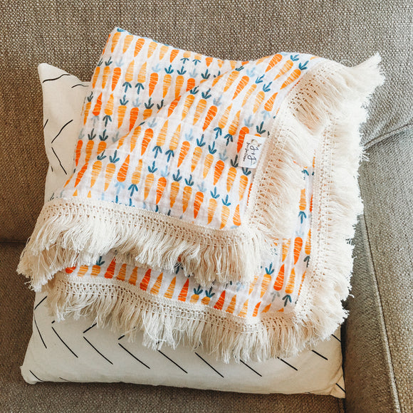 Limited Edition Fringe Blanket- Carrots on Double Gauze