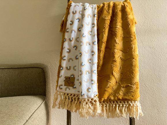 Goldenrod Rainbow Minky Blanket - Child Size