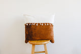 Two-Tone Minky Pillow Cover With Tassels - Cotton and Caramel