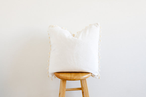 Solid Minky Pillow Cover With Tassels - Cotton