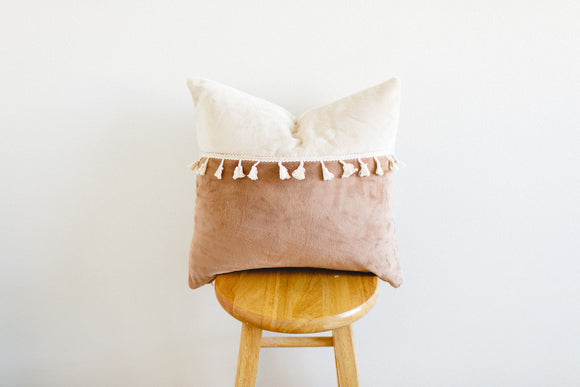 Two-Tone Minky Pillow Cover With Tassels - Wheat and Latte