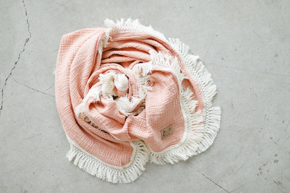 Peaches Fringe Blanket - Optional Personalization