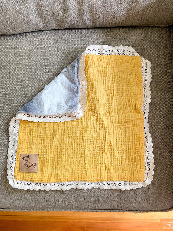 Mustard Lovey with Lace - 15x15 Inch Lovey Blanket