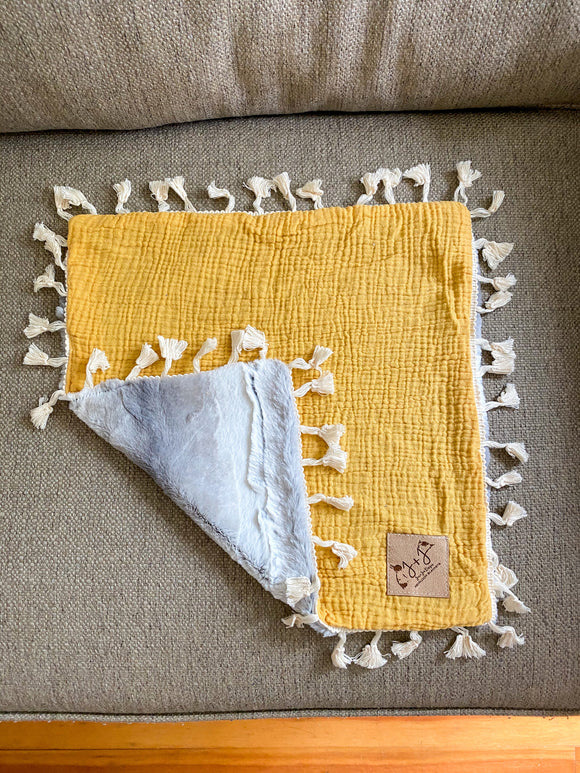 Mustard Lovey with Tassels - 15x15 Inch Lovey Blanket