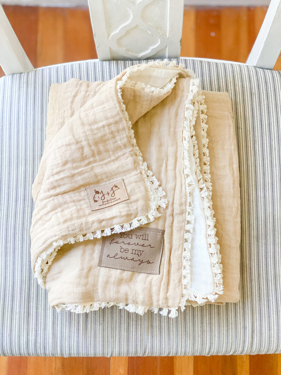PREORDER Two-Tone Gauze Quilt in Oatmeal - Optional Personalization