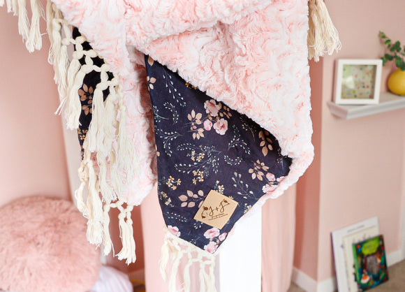 Crib Size Peony Blossom Luxe Blanket in Indigo- Blossom Pink Minky