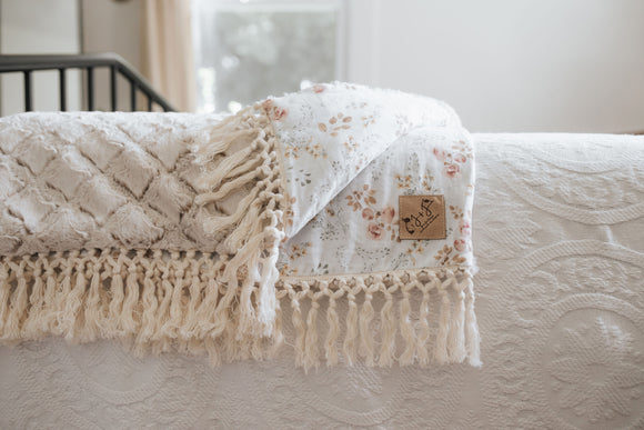 Peony Blossom Luxe Blanket in White with Frosted Gem Minky - Adult, Child and Crib Sizes