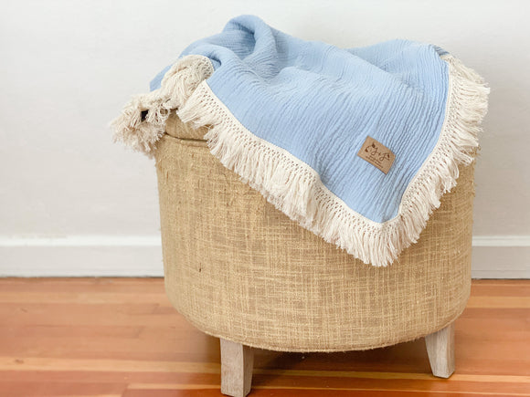 Fringe Blanket in Powder Blue