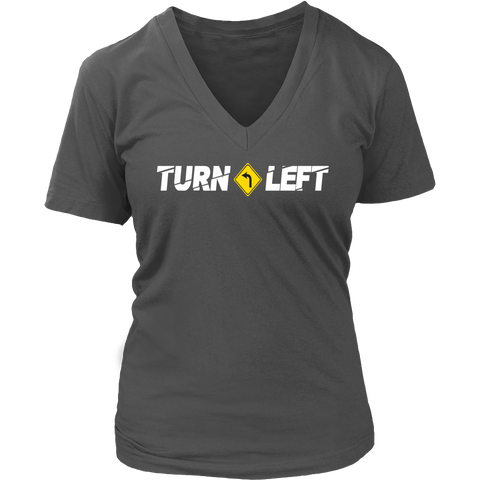 Turn Left V-Neck T-Shirt - Turn Left T-Shirts Racewear