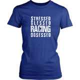 Stressed Blessed Racing Obsessed Women T-Shirt - Turn Left T-Shirts Racewear