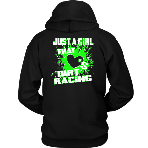 Just A Girl That Loves Dirt Racing Hoodie GRN (BACKSIDE PRINT) - Turn Left T-Shirts Racewear