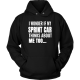 I Wonder If My Sprint Car Thinks About Me Too Hoodie - Turn Left T-Shirts Racewear
