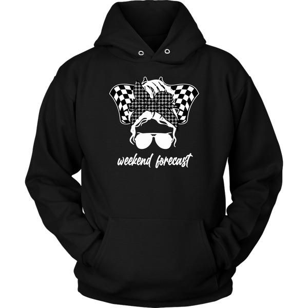 Messy Bun Racing Weekend Forecast (WHITE) Hoodie