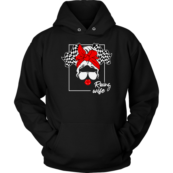 Messy Bun Racing Race Wife Hoodie
