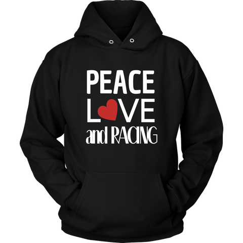 Peace Love and Racing Hoodie (Red Heart) - Turn Left T-Shirts Racewear