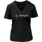 Racing Life Life Line White Text V-Neck - Turn Left T-Shirts Racewear