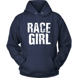 Race Girl Distressed Hoodie - Turn Left T-Shirts Racewear