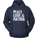 Peace Love & Racing Hoodie - Turn Left T-Shirts Racewear