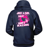 Just A Girl That Loves Dirt Racing Hoodie (BACKSIDE PRINT) - Turn Left T-Shirts Racewear