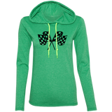 Checkered Flag Ladies' LS T-Shirt Hoodie - Turn Left T-Shirts Racewear