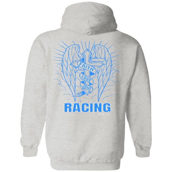Faith Love And Racing Hoodie (Blue) - Turn Left T-Shirts Racewear