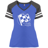 Finally Raceday  Ladies' Game V-Neck T-Shirt - Turn Left T-Shirts Racewear