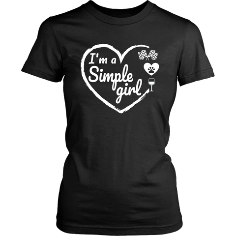 I'm A Simple Girl Checkered Flag Pets and WIne T-Shirt - Turn Left T-Shirts Racewear