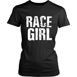 Race Girl Distressed Bold T-Shirt - Turn Left T-Shirts Racewear