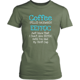 Coffee Spelled Backwards EEFFOC T-Shirts  (BLUE) - Turn Left T-Shirts Racewear