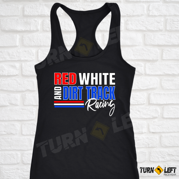 Red White And Dirt Track Racing Tank Top