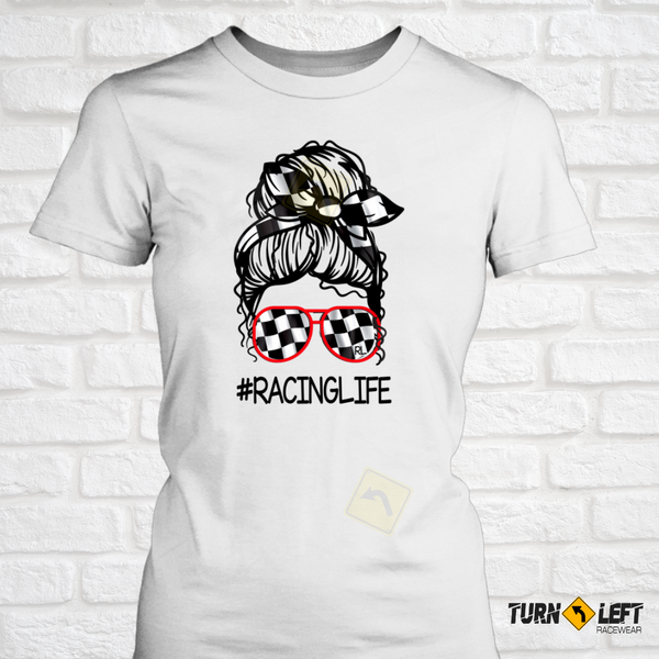 Messy Bun Racing T-Shirts Dirt Track Racing T-shirts for Women Race Life Collection.