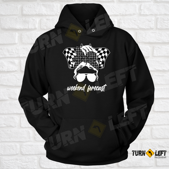 Womens Racing Hoodie Messy Bun Racing Hooded Sweatshirt. Dirt Track Racing Hoodies For Women.