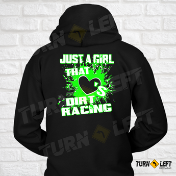 Just A Girl That Loves Dirt Racing Sweatshirt. Womens Dirt Track Racing Hooded Sweatshirts,