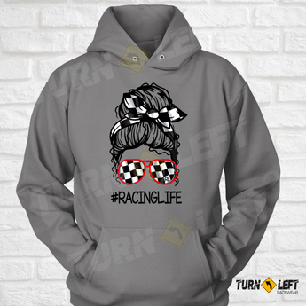 Messy Bun Racelife Sweatshirt. Checkered Flag Racing Bandana and Shades. Womens Dirt Track Racing Hooded Sweatshirts Racing Hoodie For Women
