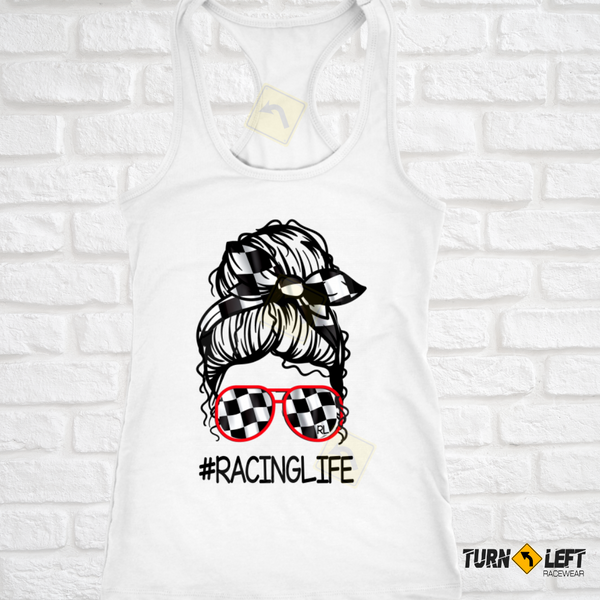 Race Life Messy Bun Racing Tank Top For Women. Checkered flag messy Bun Race Shirts.