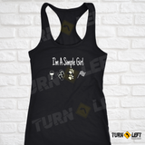 I'm A Simple Girl Tank Top Checkered Flag Racing Gifts for Women