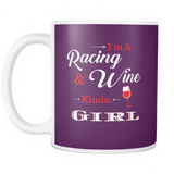 Racing and Wine Kinda Girl Coffee Mug - Turn Left T-Shirts Racewear
