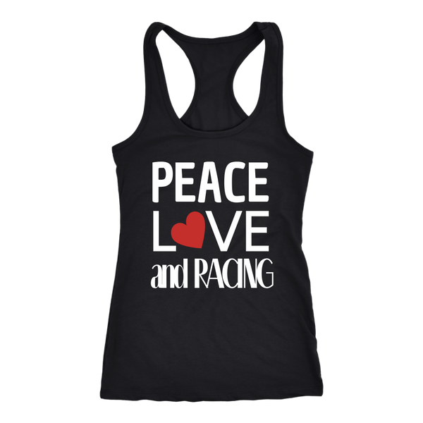 Peace Love and Racing Tank Top (Heart) - Turn Left T-Shirts Racewear